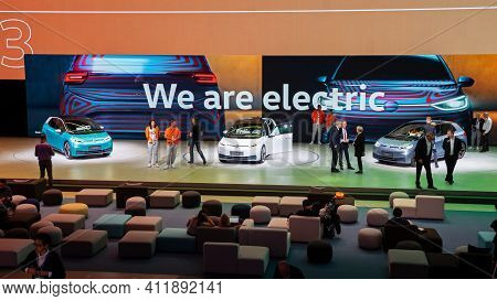 Frankfurt, Germany - Sep 11, 2019: Presentation Of The New Volkswagen Id3 Electric Car At The Frankf