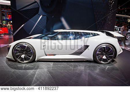 Frankfurt, Germany - Sep 11, 2019: Audi Pb 18 E-tron Electric Supercar Concept Car Showcased At The