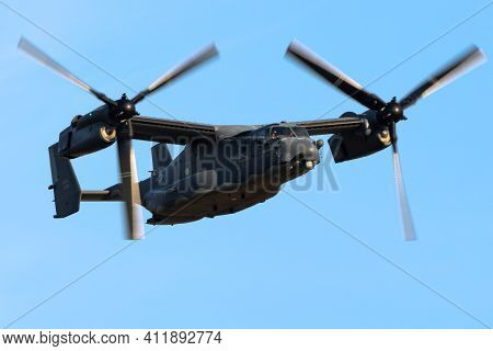 Sanicole, Belgium - Sep 13, 2019: Us Air Force Bell Boeing V-22 Osprey Tiltrotor Military Aircraft P