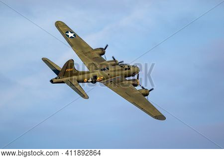 Sanicole, Belgium - Sep 13, 2019: Vintage Warbird Us Air Force Boeing B-17 Flying Fortress Ww2 Bombe