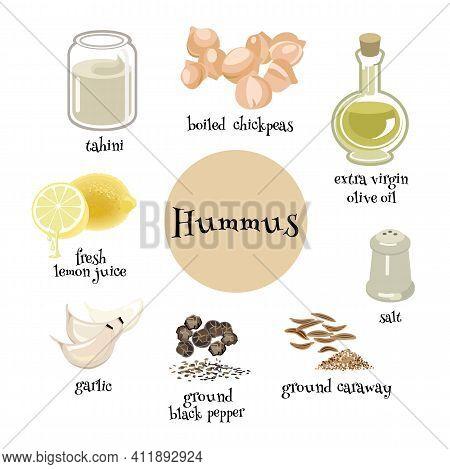Hummus Ingredients Set. Traditional Mediterranian Dish. Chickpeas, Tahini, Olive Oil, Black Pepper,