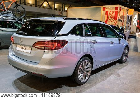 Brussels - Jan 9, 2020: New Opel Astra Car Presented At The Brussels Autosalon 2020 Motor Show.