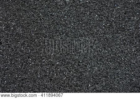 Black Background Made Of Foam Rubber And Polystyrene In Holes