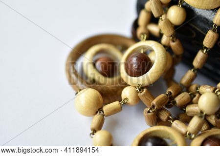 Decorative Wooden Beautiful Round Beads In A Red Jewelry Box