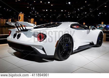 Brussels - Jan 9, 2020: Ford Gt Supercar Showcased At The Brussels Autosalon 2020 Motor Show.