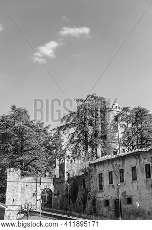 The Old Village Of Orvinio In The Province Of Rieti With Its Castle. Black And White.