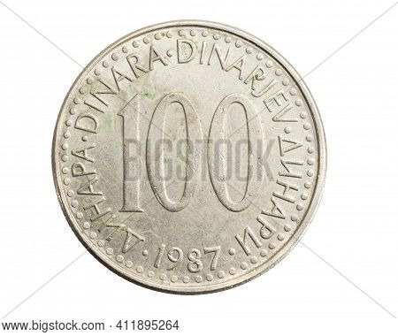 Yugoslavian One Hundred Dinar Coin On White Isolated Background