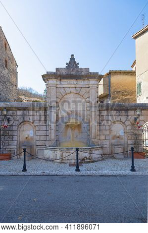 Ancient Fountain In The Old Village Of Orvinio In The Province Of Rieti In Italy.