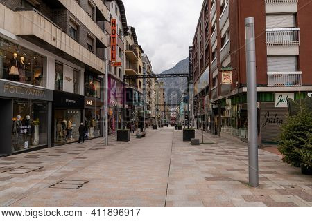 View Of The Empty Shopping Mile In The Pedestrian Zone Of Andorra La Vella