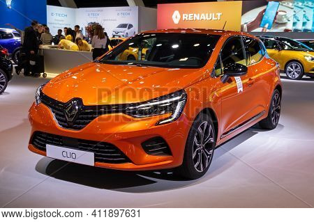 Brussels - Jan 9, 2020: New Renault Clio Car Model Showcased At The Brussels Autosalon 2020 Motor Sh
