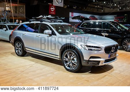 Brussels - Jan 9, 2020: Volvo V90 Cross Country Car Presented At The Brussels Autosalon 2020 Motor S