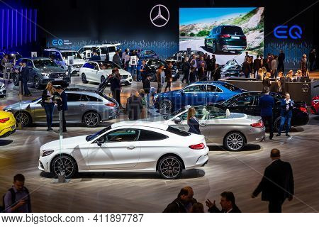 Brussels - Jan 9, 2020: Visitors And Cars At The Brussels Autosalon 2020 Motor Show.