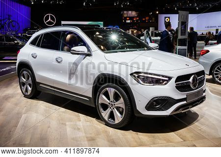 Brussels - Jan 9, 2020: New 2020 Mercedes-benz Gla Car Presented At The Brussels Autosalon 2020 Moto