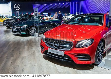 Brussels - Jan 9, 2020: New Mercedes Car Models On Display At The Brussels Autosalon 2020 Motor Show