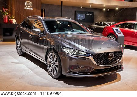 Brussels - Jan 9, 2020: New Mazda 6 Car Model Showcased At The Brussels Autosalon 2020 Motor Show.