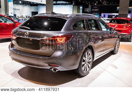 Brussels - Jan 9, 2020: New Mazda 6 Luxury Saloon Car Presented At The Brussels Autosalon 2020 Motor