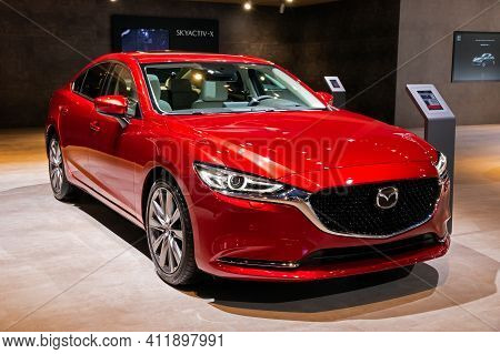 Brussels - Jan 9, 2020: New Mazda 6 Luxury Saloon Car Model Showcased At The Brussels Autosalon 2020