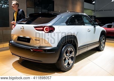 Brussels - Jan 9, 2020: New Mazda Mx-30 Electric Car Presented At The Brussels Autosalon 2020 Motor