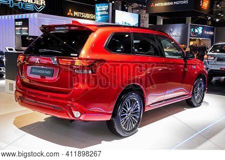 Brussels - Jan 9, 2020: Mitsubishi Outlander Phev Plug-in Hybrid Suv Car Model Showcased At The Bru
