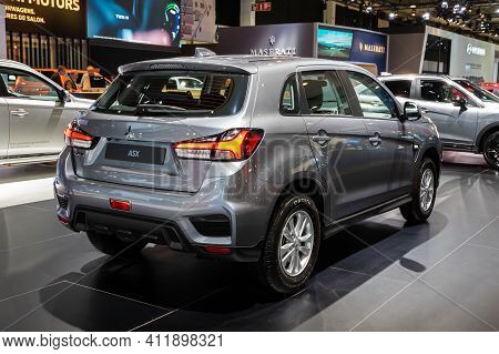 Brussels - Jan 9, 2020: New Mitsubishi Asx Car Model Showcased At The Brussels Autosalon 2020 Motor