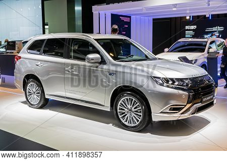 Brussels - Jan 9, 2020: New Mitsubishi Outlander Phev Car Model Showcased At The Brussels Autosalon
