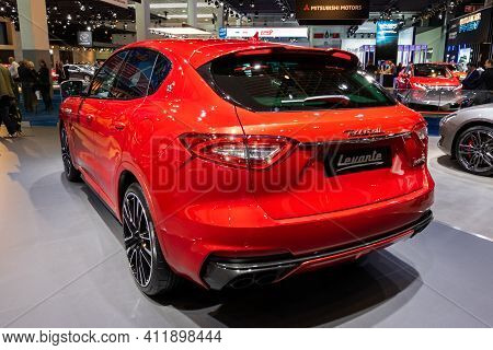 Brussels - Jan 9, 2020: New Maserati Levante Car Showcased At The Brussels Autosalon 2020 Motor Show