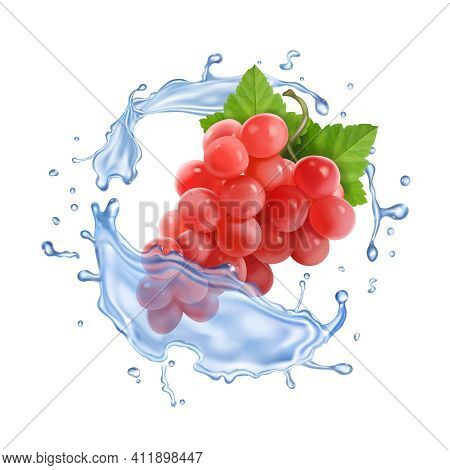 Red Or Pink Table Grapes In Water Splash Bunch Of Wine Grapes Realistic Set