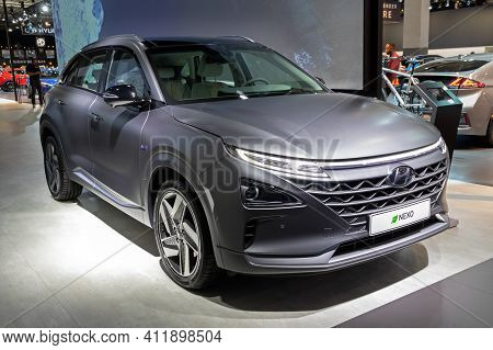 Brussels - Jan 9, 2020: New Hyundai Nexo Hydrogen Fuel Cell Powered Crossover Suv Car Model Showcase