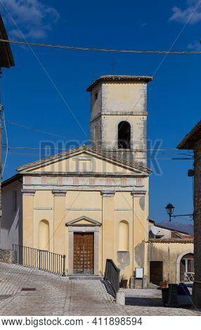 Orvinio, Facade Of The Church Of Santa Maria Dei Recommended. Province Of Rieti. Italy.