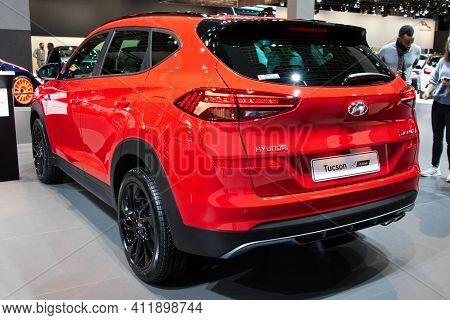 Brussels - Jan 9, 2020: New Hyundai Tucson N Line Car Model Showcased At The Brussels Autosalon 2020
