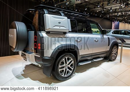Brussels - Jan 9, 2020: New Land Rover Defender Car Model Showcased At The Brussels Autosalon 2020 M