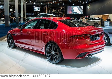 Brussels - Jan 9, 2020: New Jaguar Xe Sports Saloon Car Model Showcased At The Brussels Autosalon 20