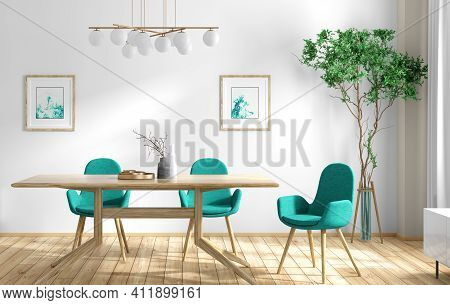 Interior Design Of Modern Sunny Dining Room, Wooden Table And Turquoise Chairs Against White Wall, S