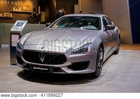 Brussels - Jan 9, 2020: Maserati Quattroporte Luxury Saloon Car Model Showcased At The Brussels Auto