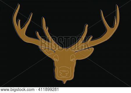 Deer Drawing. Deer Head Full Face. Simple Line Drawing Of A Deer. Wild Animal