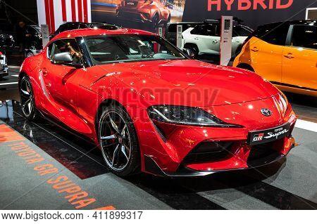 Brussels - Jan 9, 2020: Toyota Gr Supra  Car Model Showcased At The Brussels Autosalon 2020 Motor Sh