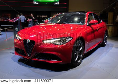 Brussels - Jan 9, 2020: Alfa Romeo Giulia Sports Car Model Showcased At The Brussels Autosalon 2020