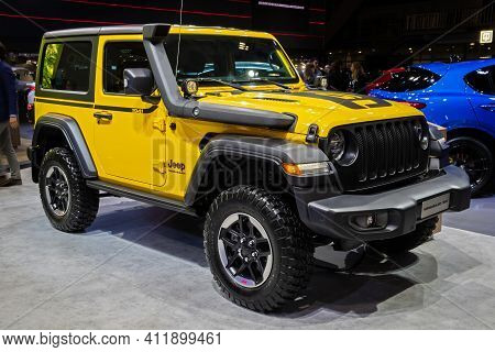 Brussels - Jan 9, 2020: New Jeep Wrangler Rubicon 1941 Edition 4x4 Car Model Showcased At The Brusse