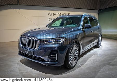 Brussels - Jan 9, 2020: New Bmw X7 Lucury Suv Car Presented At The Brussels Autosalon 2020 Motor Sho