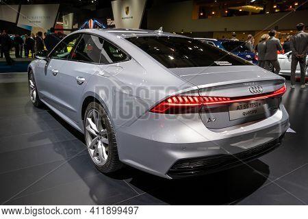 Brussels - Jan 9, 2020: New 2020 Audi A7 Sportback E Quattro Car Presented At The Brussels Autosalon