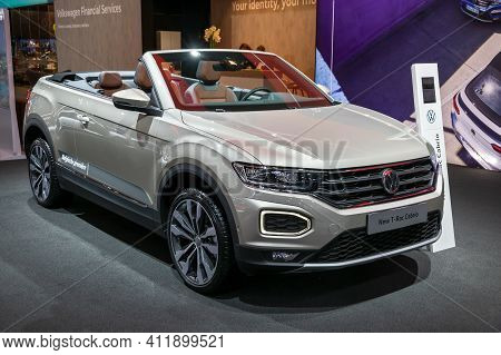 Brussels - Jan 9, 2020: New Volkswagen T-roc Cabriolet Car Model Showcased At The Brussels Autosalon