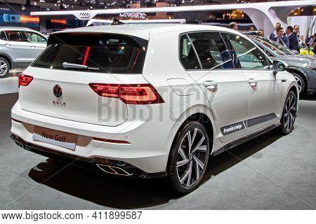 Brussels - Jan 9, 2020: New Volkswagen Golf Car Model Showcased At The Brussels Autosalon 2020 Motor