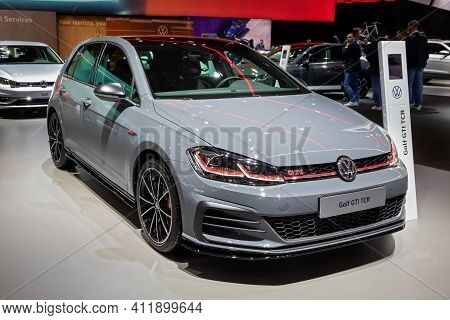Brussels - Jan 9, 2020: New Volkswagen Gti Tcr Car Model Showcased At The Brussels Autosalon 2020 Mo