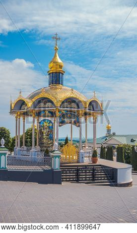 Summer Altar Of Pochaev Lavra With Biblical Stained-glass Windows