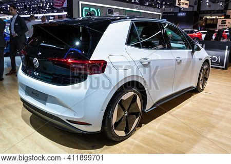 Brussels - Jan 9, 2020: Volkswagen Id 3 Electric Car Showcased At The Brussels Autosalon 2020 Motor