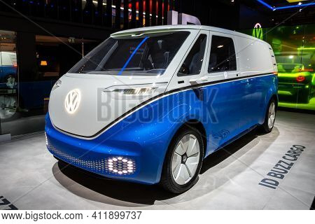 Brussels - Jan 9, 2020: New Electric Volkswagen Id Buzz Cargo Van Model Showcased At The Brussels Au