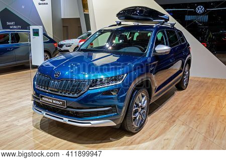 Brussels - Jan 9, 2020: New Skoda Kodiaq Scout Car Model Showcased At The Brussels Autosalon 2020 Mo