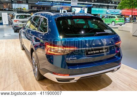 Brussels - Jan 9, 2020: New Skoda Superb Scout Car Model Showcased At The Brussels Autosalon 2020 Mo