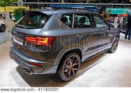 Brussels - Jan 9, 2020: New  Seat Cupra Ateca Car Model Showcased At The Brussels Autosalon 2020 Mot