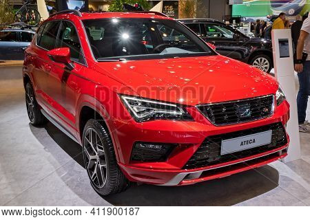 Brussels - Jan 9, 2020: New Seat Ateca Car Model Showcased At The Brussels Autosalon 2020 Motor Show